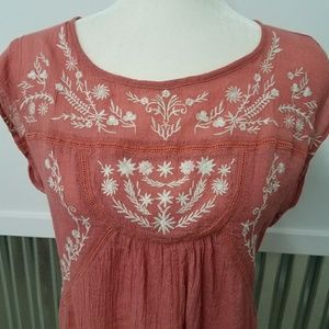 Maurices Pheasant Boho Festival Embroidered Top